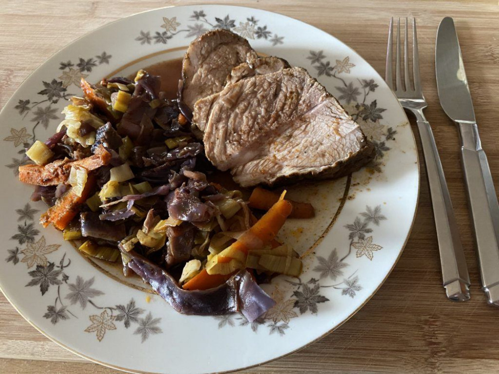 Oven Braised Pork Roast with Red Cabbage and Leek